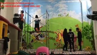 Vẽ tranh tường mầm non giá rẻ - Sơn Acrylic cao cấp - Bảo hành 3 năm