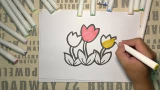 Tulips Drawing and Coloring for Kids | Super Cool Arts & Crafts