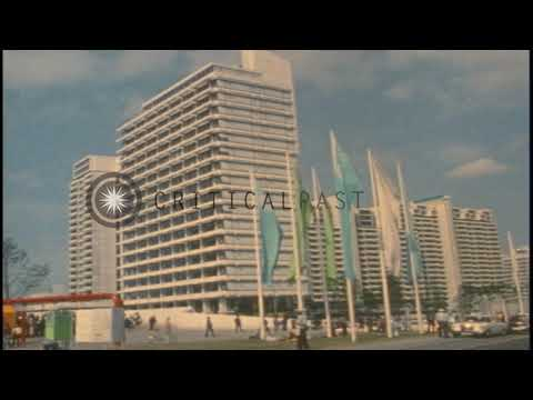 Buildings in the Olympic village during the 1972 Summer Olympics held in Munich,HD Stock Footage
