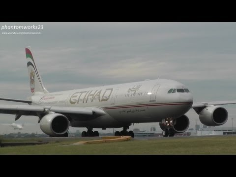 Etihad Airways A340-500 Take Off 34L Sydney Airport