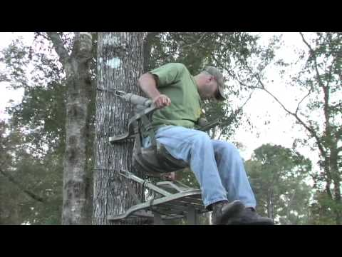 Adjusting a Climbing Stand While in the Hunting Position