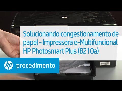 Solucionando congestionamento de papel - Impressora e-Multifuncional HP Photosmart Plus (B210a)