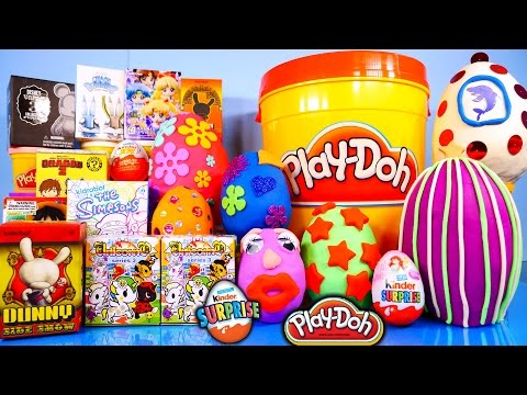 Surprise Eggs Play Doh Kinder Kidrobot Simpsons Disney Vinylmation Toys Playdough Playset Bucket