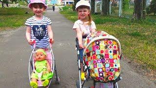 КУКЛЫ Беби Бон! На прогулке с колясками и беби борн.