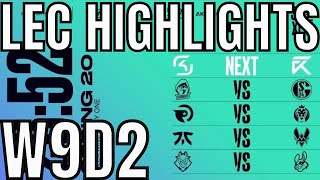 LEC Highlights ALL GAMES Week 9 Day 2 Spring 2020 League of Legends EULEC