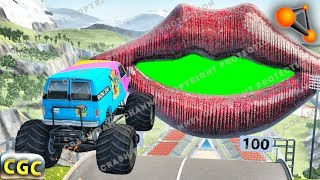 High speed Jumps and Crashes into Huge Lips and Mouth (Ramp and descent jumps) Beamng drive