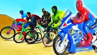 Spiderman Riding Bike - Learn colors with motorcycle and Truck Jump in the water cartoon kids