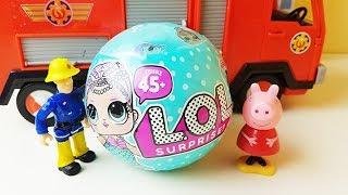 Lalki LOL Surprise - Świnka Peppa i Strażak Sam otwierają - bajki dla dzieci