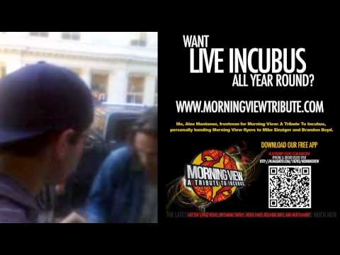 Frontman Alex Montanez promotes Morning View to Brandon Boyd&Mike Einziger @ Apple Store Soho