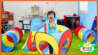 Ryan Pretend Play Obstacle Course Play Tent for Egg Surprise!!!