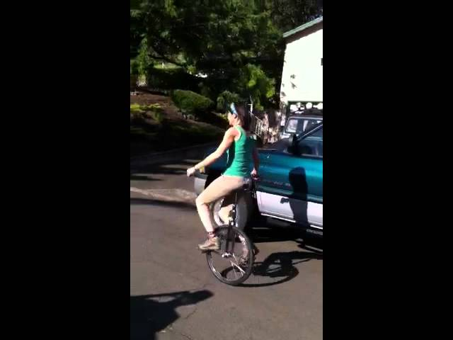 Nancy on Pete's B-day unicycle