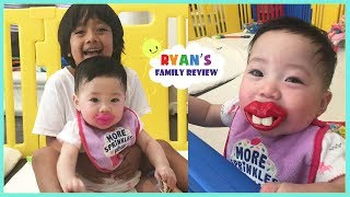 WIERD FUNNY SCARRY TEETH!!  Twin Babies Trying on Funny Pacifiers with Ryan