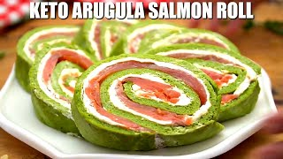 Keto Arugula Salmon Roll - Sweet and Savory Meals