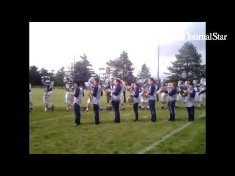 The Peoria Notre Dame High School Marching Band had their first performance ever at PND vs Quincy va