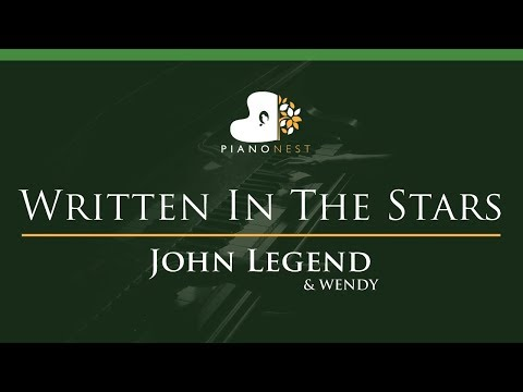 John Legend & WENDY - Written In The Stars - LOWER Key (Piano Karaoke / Sing Along)