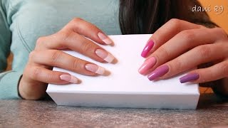 ASMR: ✶ TINGLES: tapping&scratching ✶ with multicolor pink &french manicure on my LongNails ♥