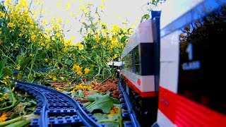 Lego train on an outdoor ride