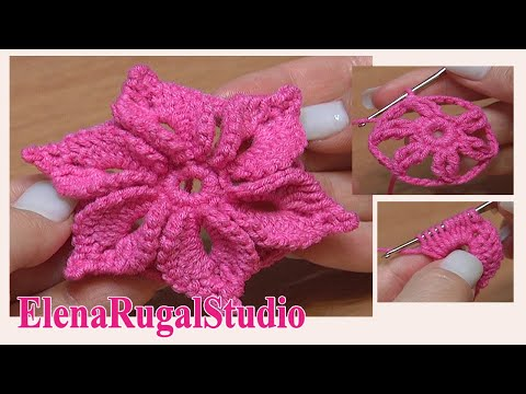 Youtube Crocheting : ... 3D Flower Tutorial 46 Fleur au crochet facile ? rEaliser - YouTube