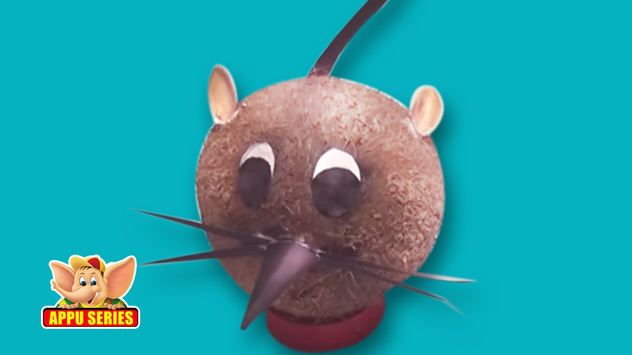Learn to make a rat with coconut arts crafts youtube for Hand works with waste things
