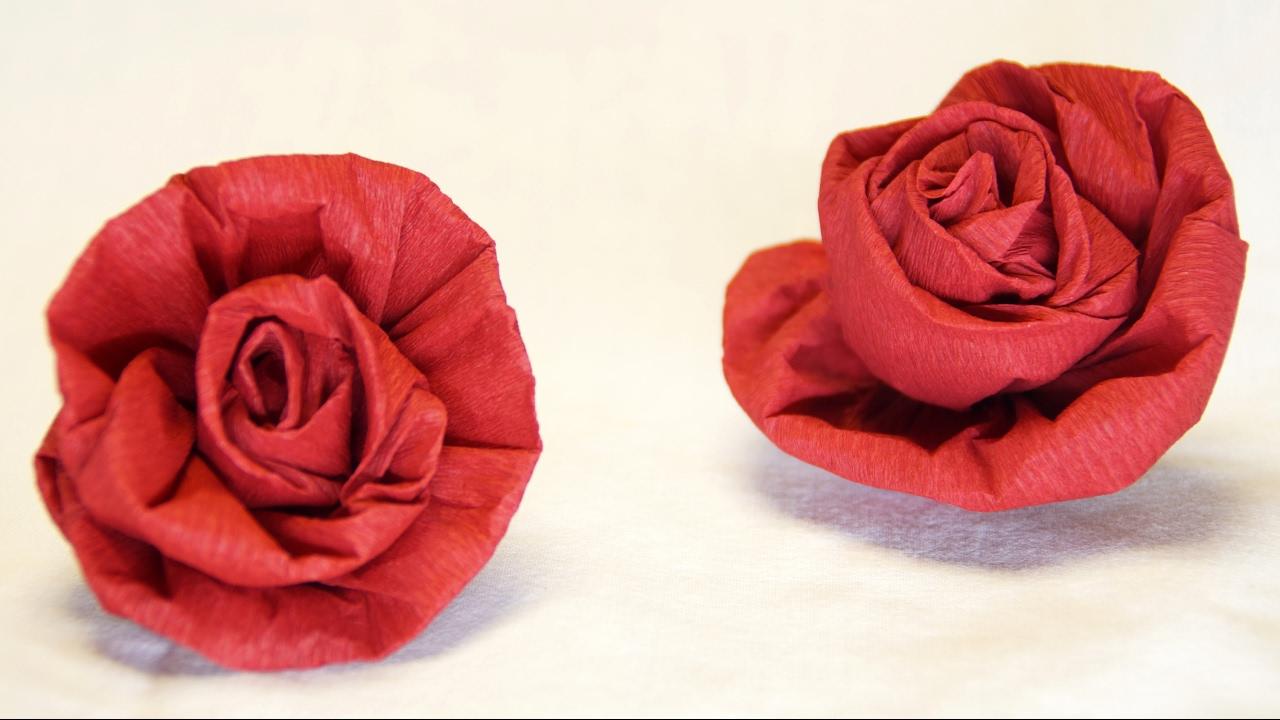 Krepppapier Blumen Basteln Anleitung : Blumen basteln Rose aus Krepppapier, Feinkrepp basteln How to make