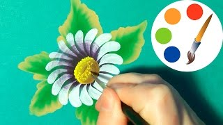 How to paint  a White Daisy with the oval brush, paint a flower, irishkalia