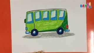 Hướng dẫn cách dạy bé vẽ xe ô tô buýt | Vẽ phương tiện giao thông | Dạy bé học