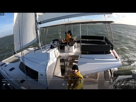 Sailing Nautitech 46 Fly catamaran in Force 8 - double digit speeds AND revolutionary big flybridge