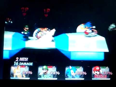 SSBC cpu level 9 battle: Tails and Luigi vs Sonic and Mario