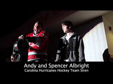 Andy Albright sounds the Hurricane Warning at the Carolina Hurricanes game