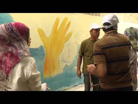 Youth painting activity in Gaza