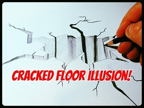 How To Draw A Cracked Floor Illusion Youtube