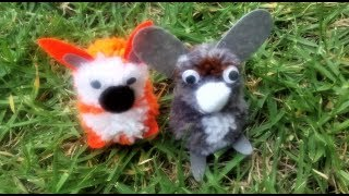 DIY Pom Pom Animals Craft Kit - Fox and Rabbit Pompom toys