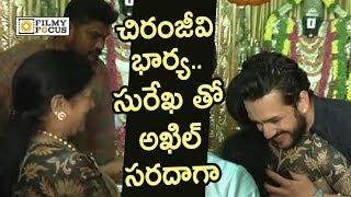 Akhil Akkineni Fun with Chiranjeeviand#39;s Wife Surekha @Movie Launch