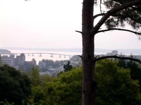 七尾市 和倉温泉 青林寺からの能登島大橋を見ました。