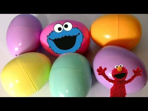 Sesame Street Surprise Eggs Cookie Monster Elmo Big Bird Egg Hunt Toys Review Fisher-Price