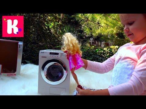 Барби Дизайнерская мастерская и Кукла Barbie и Miele игрушечная стиральная машинка играем на улице