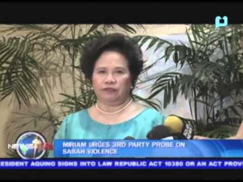 Miriam Santiago urges 3rd party probe on Sabah violence