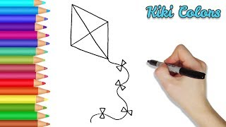How to Draw a Kite Part 1 | Teach Drawing for Kids and Toddlers Coloring Page Video