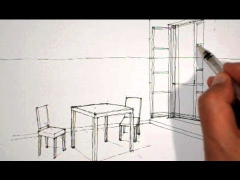 Dessiner en perspective int rieure table chaises fen tre for Table en verre avec chaise