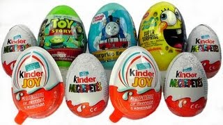 9 Surprise Eggs Kinder Surprise Kinder Joy Thomas Spongebob Toy Story