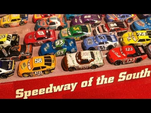 36 Racers Motor Speedway of the South Cars Set Disney Pixar Mattel display Petersen Museum
