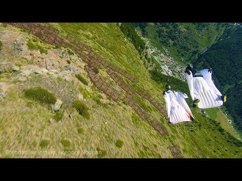 Formation Wingsuit Terrain Flying Down the Mettlehorn