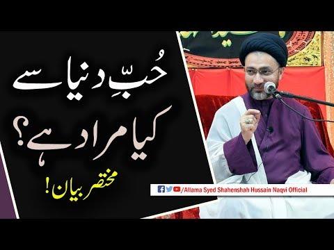 Hub-e-Dunya sw kya Murad hain by Allama Syed Shahenshah Hussain Naqvi