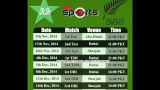 Pakistan Series Schedule Against New Zealand In U.A.E 2014