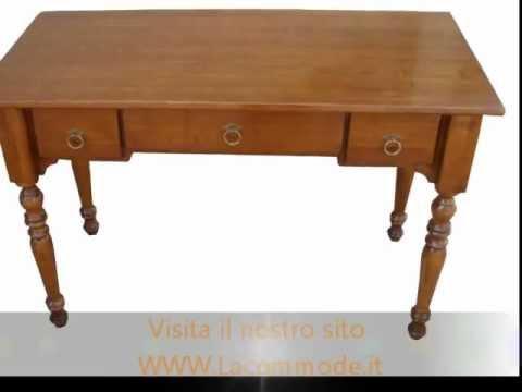 Scrittoio scrivania  classica in legno massello tre cassetti  stile 800 lombardo gamba tornita