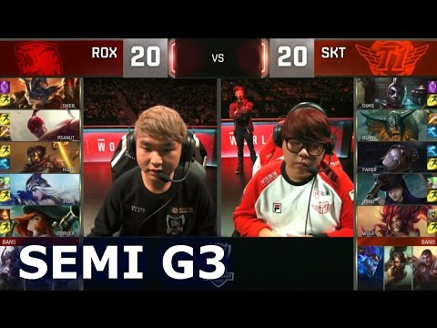 SKT vs ROX - Game 3 Semi Finals Worlds 2016 | LoL S6 World Championship SK Telecom T1 vs Rox Tigers
