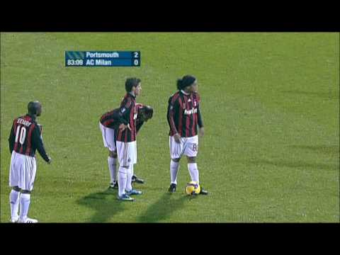 Ronaldinho's Perfect Freekick Goal - Portsmouth-AC Milan