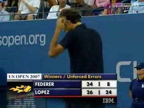 Roger Federer vs Feliciano Lopez - Us Open 2007 (2/2) Video