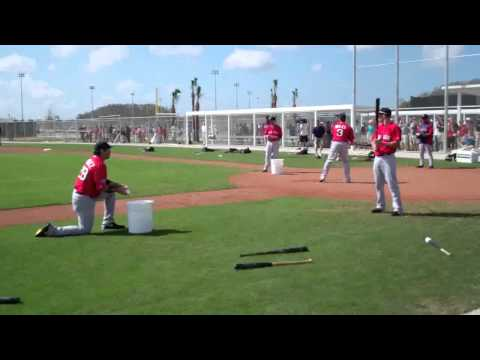 Dustin Pedroia and Adrian Gonzalez hit fungos Red Sox.flv