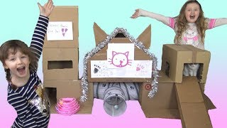 Ava Isla and Olivia Build a Box Fort House for the Cat plus Shout Out Sunday